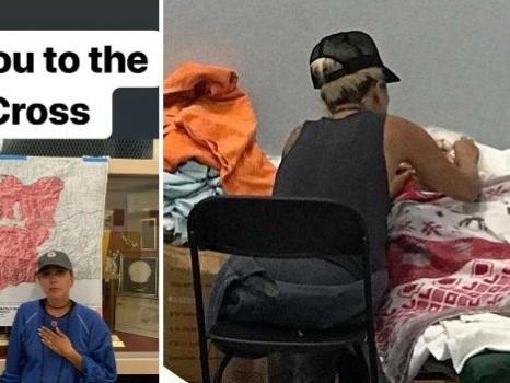 Lady Gaga assiste un'anziana ricoverata e canta per lei, la star volontaria per gli sfollati di Malibu (foto)