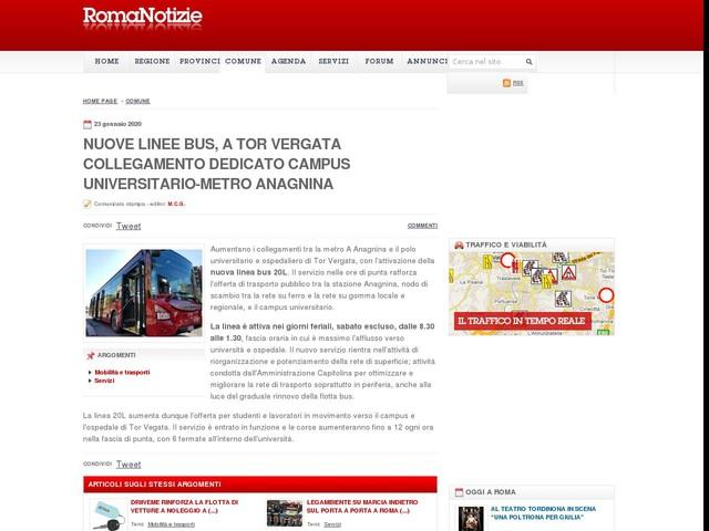 Nuove linee bus, a Tor Vergata collegamento dedicato campus universitario-metro Anagnina