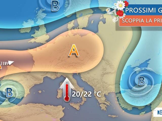 Meteo; GIORNATE di PRIMAVERA con SUPER ANTICICLONE, TEMPERATURE oltre 20°C