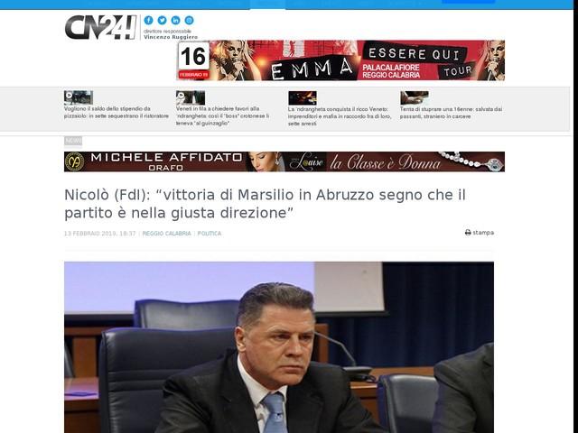 """Nicolò (FdI): """"vittoria di Marsilio in Abruzzo segno che il partito è nella giusta direzione"""""""