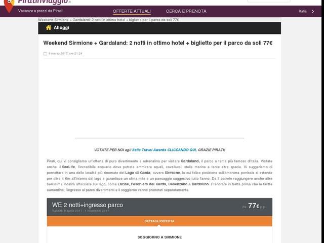 Weekend Sirmione + Gardaland: 2 notti in ottimo hotel + biglietto per il parco da soli 77€