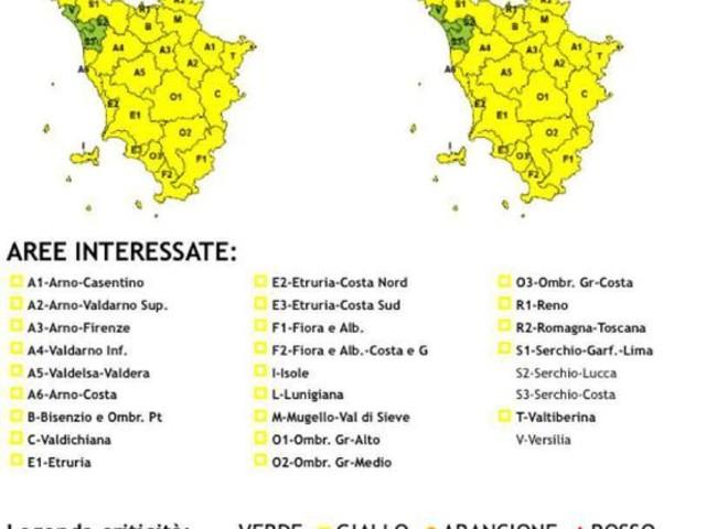Maltempo: Toscana estende allerta gialla