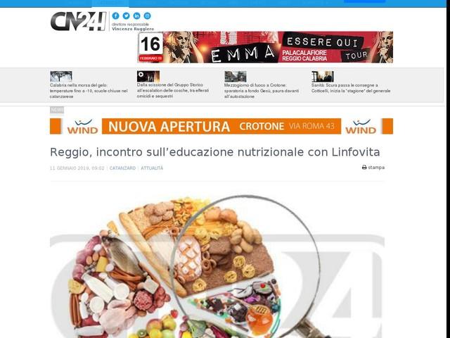 Reggio, incontro sull'educazione nutrizionale con Linfovita