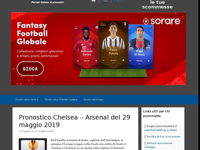 Pronostico Chelsea – Arsenal del 29 maggio 2019