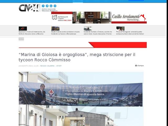 """""""Marina di Gioiosa è orgogliosa"""", mega striscione per il tycoon Rocco Còmmisso"""