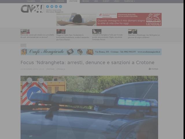 Focus 'Ndrangheta: arresti, denunce e sanzioni a Crotone