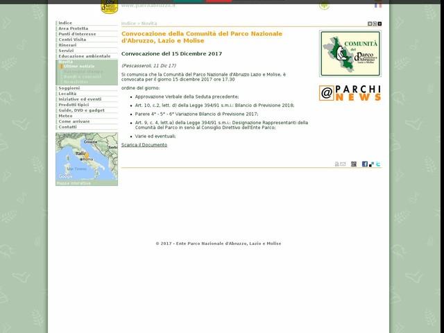 PN Abruzzo, Lazio e Molise - Convocazione della Comunità del Parco Nazionale d'Abruzzo, Lazio e Molise