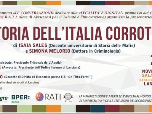 """Con la presentazione di """"Storia dell'Italia corrotta"""" RATI promuove un importante incontro per riflettere sul tema"""
