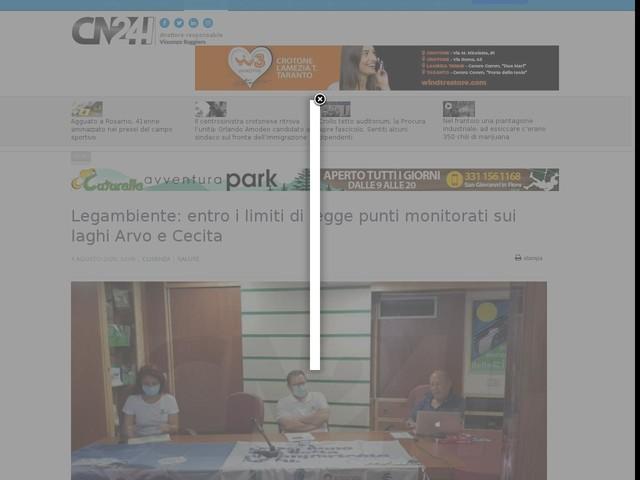 Legambiente: entro i limiti di legge punti monitorati sui laghi Arvo e Cecita