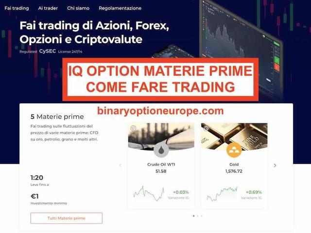 IQ Option materie prime trading come funziona: oro argento platino petrolio [2021]