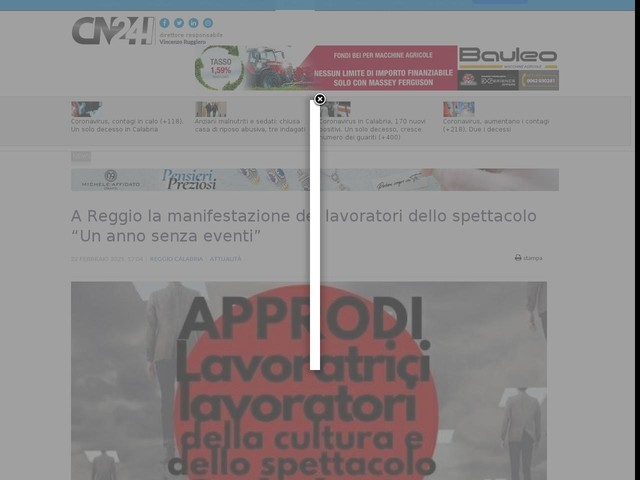 """A Reggio la manifestazione dei lavoratori dello spettacolo """"Un anno senza eventi"""""""