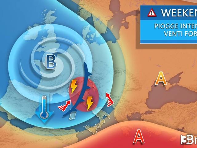 Meteo: WEEKEND NUOVO AFFONDO CICLONICO sull'Italia, NUBIFRAGI e BURRASCHE DI VENTO
