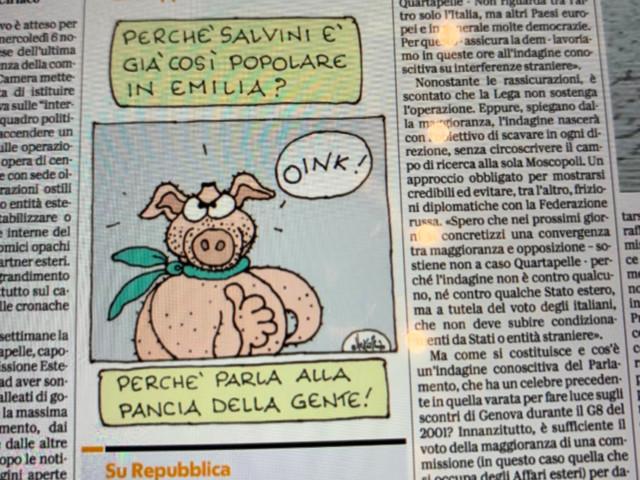 La vignetta choc di Ellekappa: Salvini e leghisti come dei maiali