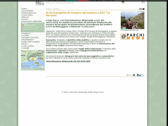 """PN Cinque Terre - Al via il progetto di recupero del sentiero n.531 """"La Beccara"""""""