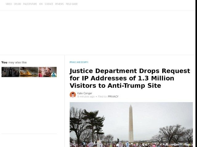 Justice Department Drops Request for IP Addresses of 1.3 Million Visitors to Anti-Trump Site
