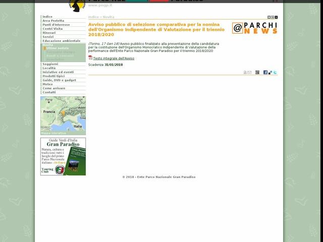 PN Gran Paradiso - Avviso pubblico di selezione comparativa per la nomina dell'Organismo Indipendente di Valutazione per il triennio 2018/2020