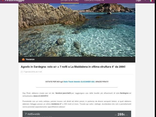 Agosto in Sardegna: volo a/r + 7 notti a La Maddalena in ottima struttura 4* da 288€!