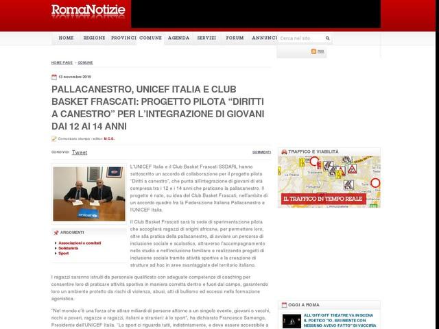 """Pallacanestro, UNICEF Italia e Club Basket Frascati: progetto pilota """"Diritti a canestro"""" per l'integrazione di giovani dai 12 ai 14 anni"""