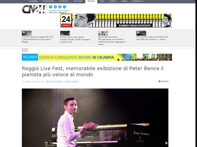 Reggio Live Fest, memorabile esibizione di Peter Bence il pianista più veloce al mondo