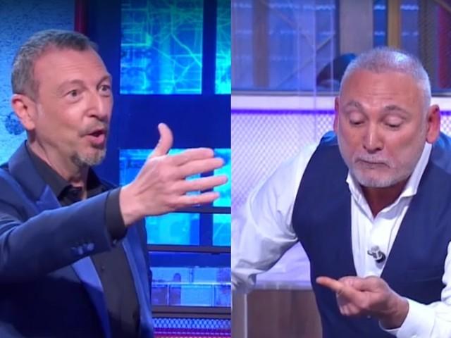 """""""Ti sei fatto male?"""". I soliti ignoti, incidente in diretta. Francesco Paolantoni tira fuori la sciabola e si taglia. Amadeus terrorizzato: """"Vatti subito a disinfettare!"""""""