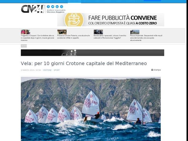Vela: per 10 giorni Crotone capitale del Mediterraneo