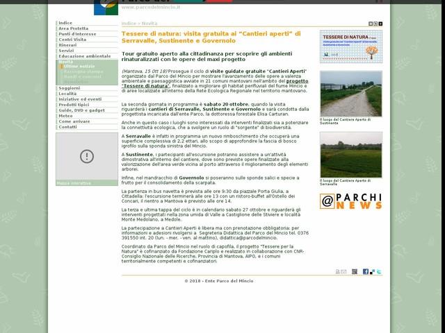 """PR Mincio - Tessere di natura: visita gratuita ai """"Cantieri aperti"""" di Serravalle, Sustinente e Governolo"""