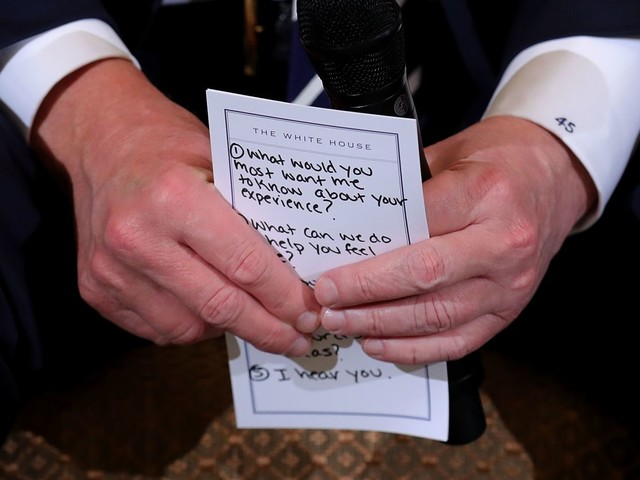 Photographer Catches Trump's Notes on How to Appear Sympathetic to Mass Shooting Survivors