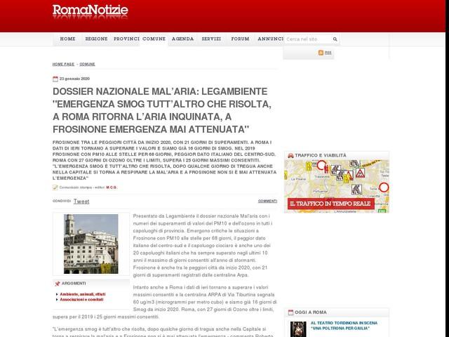 """Dossier Nazionale Mal'aria: Legambiente """"Emergenza Smog tutt'altro che risolta, a Roma ritorna l'aria inquinata, a Frosinone emergenza mai attenuata"""""""