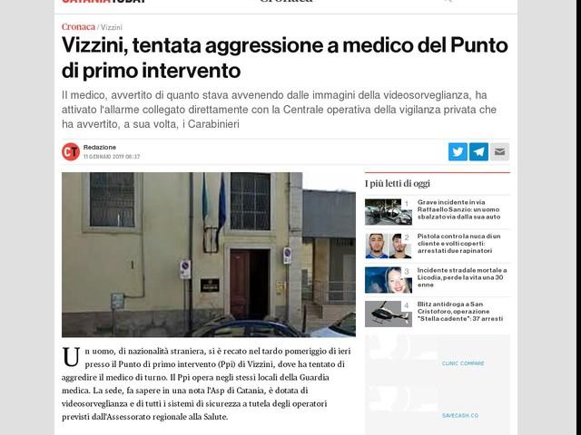 Vizzini, tentata aggressione a medico del Punto di primo intervento