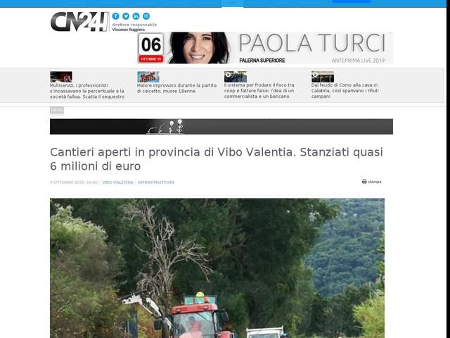 Cantieri aperti in provincia di Vibo Valentia. Stanziati quasi 6 milioni di euro