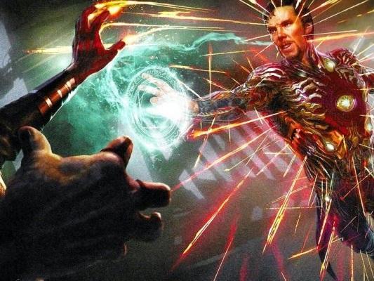 Avengers: Infinity War, Doctor Strange indossa una tuta di Iron Man in nuovi concept art