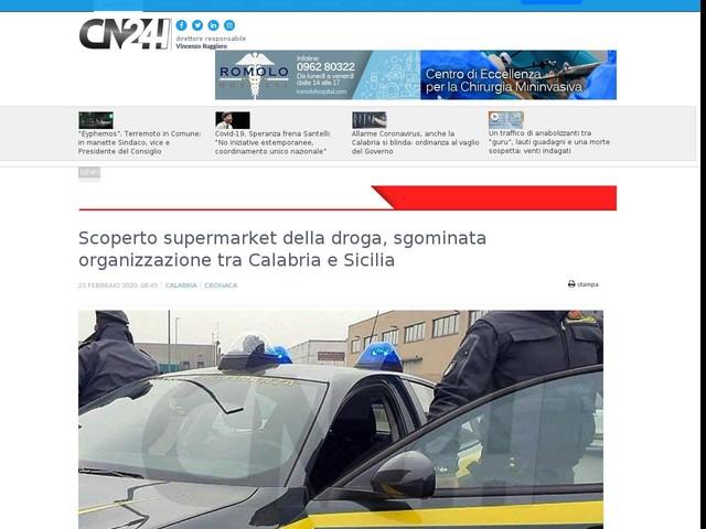 Scoperto supermarket della droga, sgominata organizzazione tra Calabria e Sicilia