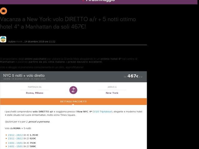 Vacanza a New York: volo DIRETTO a/r + 5 notti ottimo hotel 4* a Manhattan da soli 467€!
