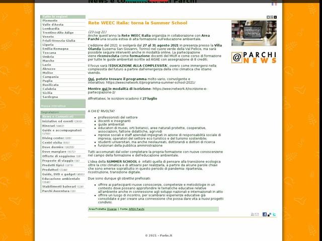 AREA Parchi - Rete WEEC Italia: torna la Summer School