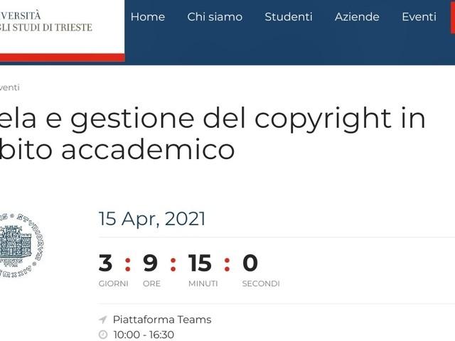 Tutela e gestione del copyright in ambito accademico: corso per i dottorandi dell'Università di Trieste