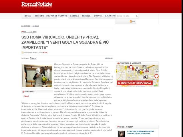 """Ssd Roma VIII (calcio, Under 19 prov.), Zampilloni: """"I venti gol? La squadra è più importante"""""""