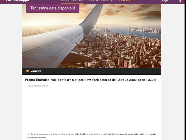 Promo Emirates: voli diretti a/r a 5* per New York a bordo dell'Airbus A380 da soli 330€!