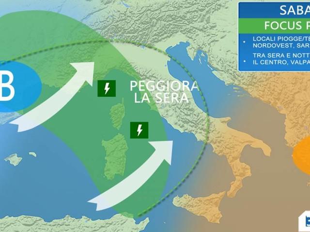 Meteo WEEKEND - piogge e TEMPORALI su parte dell'Italia, TEMPERATURE IN CALO da domenica