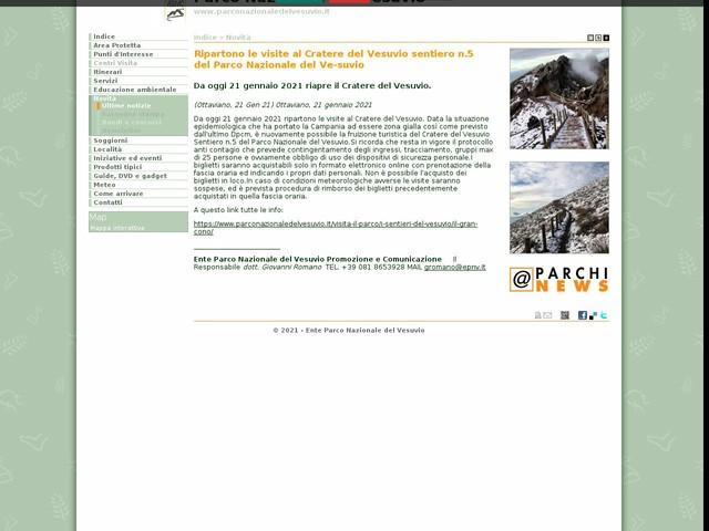PN Vesuvio - Ripartono le visite al Cratere del Vesuvio sentiero n.5 del Parco Nazionale del Ve-suvio