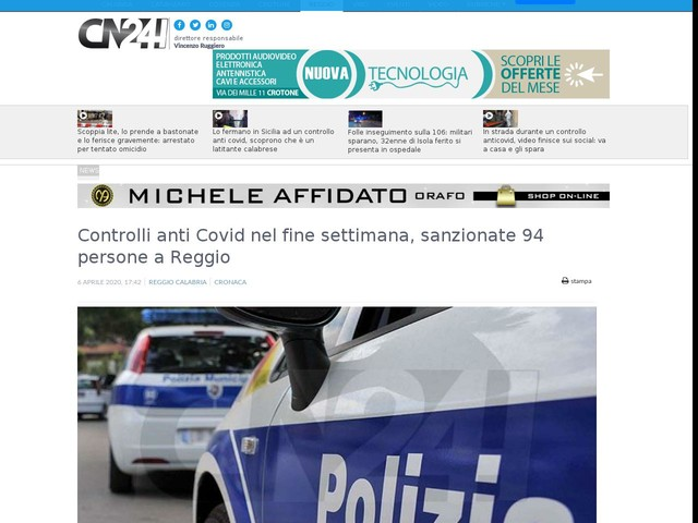Controlli anti Covid nel fine settimana, sanzionate 94 persone a Reggio