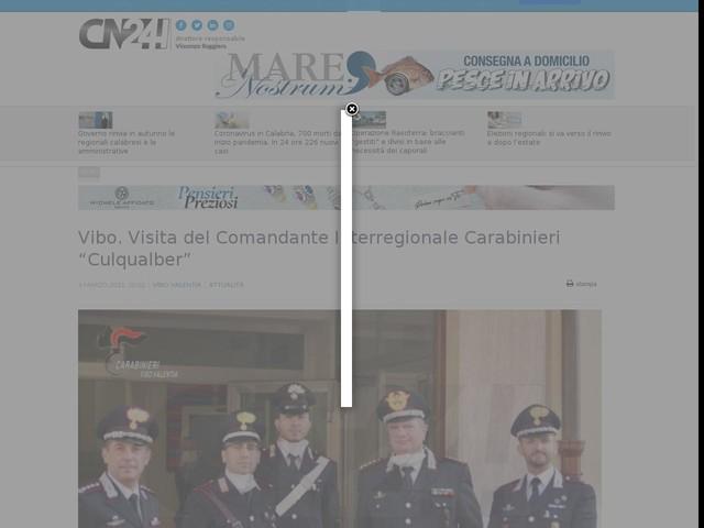 "Vibo. Visita del Comandante Interregionale Carabinieri ""Culqualber"""