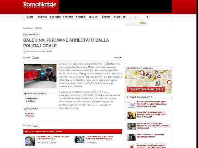 Balduina, piromane arrestato dalla Polizia Locale