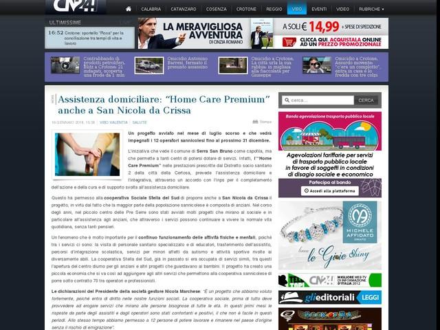"""Assistenza domiciliare: """"Home Care Premium"""" anche a San Nicola da Crissa"""