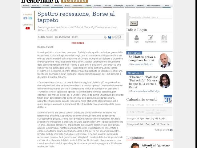 Spettro recessione, Borse al tappeto