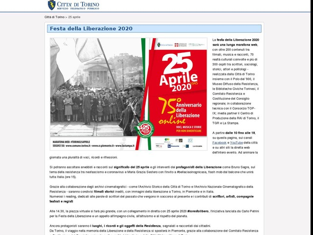 Gli eventi per il 25 aprile