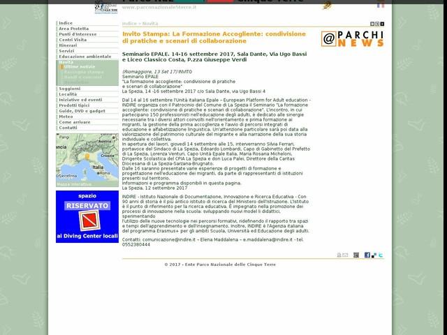 PN Cinque Terre - Invito Stampa: La Formazione Accogliente: condivisione di pratiche e scenari di collaborazione