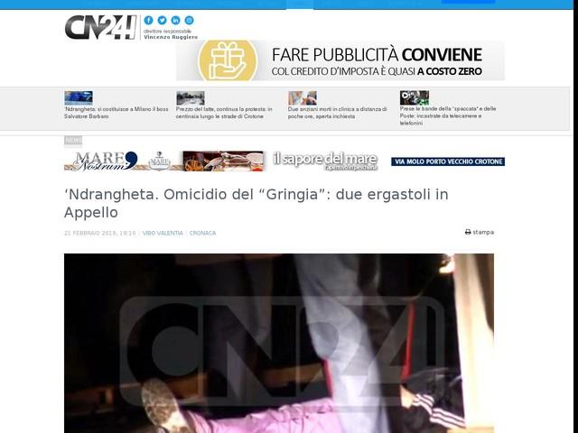 """'Ndrangheta. Omicidio del """"Gringia"""": due ergastoli in Appello"""