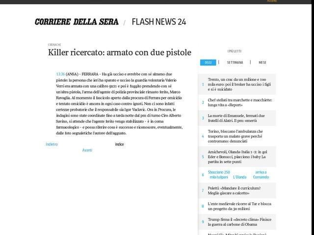 Killer ricercato: armato con due pistole