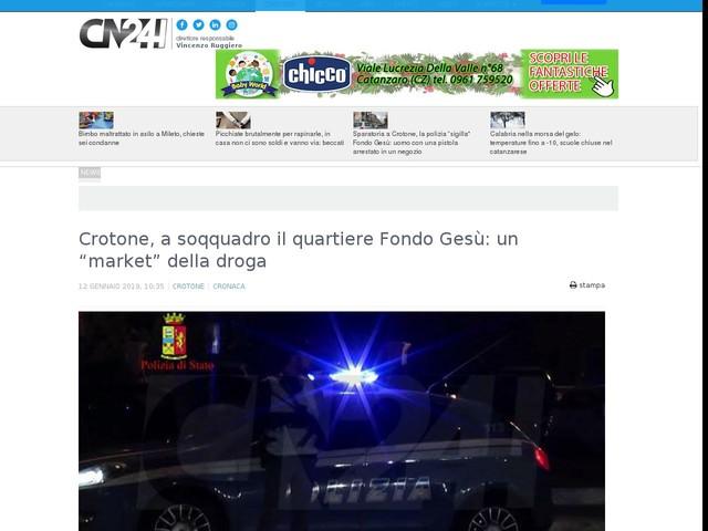 """Crotone, a soqquadro il quartiere Fondo Gesù: un """"market"""" della droga"""