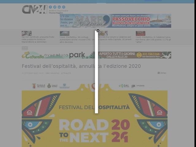 Festival dell'ospitalità, annullata l'edizione 2020